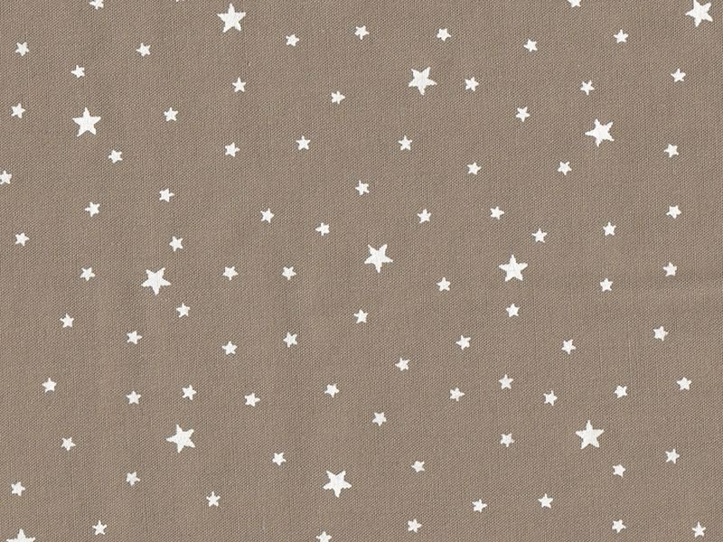 Tissu polycoton étoiles - brun noix