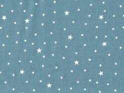 Stoff aus Baumwollmischgewebe mit Sternenmotiv - Petrolblau