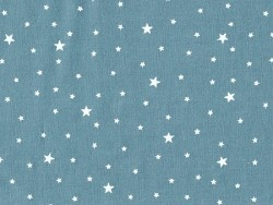 Tissu polycoton étoiles - Bleu canard