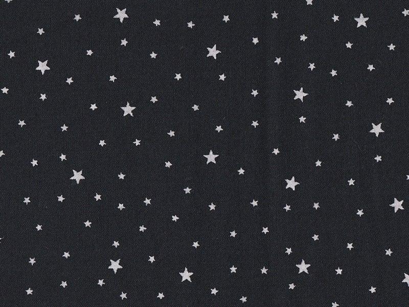 Tissu polycoton étoiles - noir réglisse