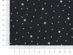 Stoff aus Baumwollmischgewebe mit Sternenmotiv - Lakritzschwarz