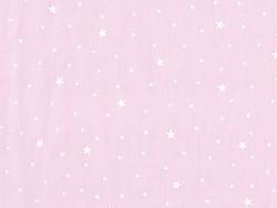 Stoff aus Baumwollmischgewebe mit Sternenmotiv - Litchirosa