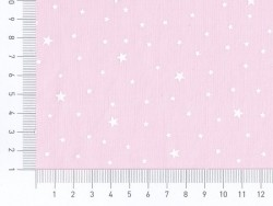 Tissu polycoton étoiles - rose litchi