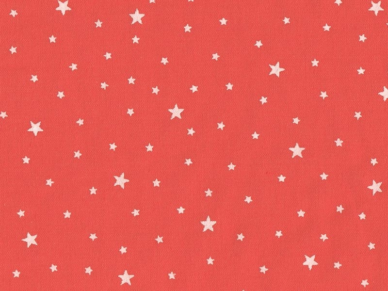 Tissu polycoton étoiles - Pamplemousse