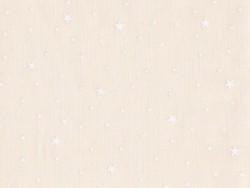 Stoff aus Baumwollmischgewebe mit Sternenmotiv - Baiserbeige