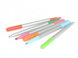 12 fibre-tip pens - with two tips