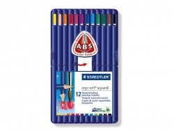 12 Crayons de couleur triangulaires aquarellables