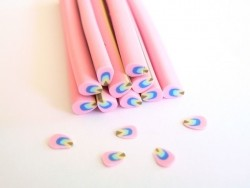 Petal cane, light pink, blue, and green