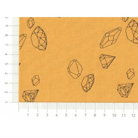 Tissu polycoton Ma rivière de diamants par Aime comme Marie - Moutarde