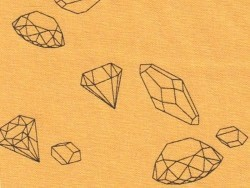"Cotton blend fabric - ""Ma rivière de diamants"" by Aime comme Marie - mustard yellow"