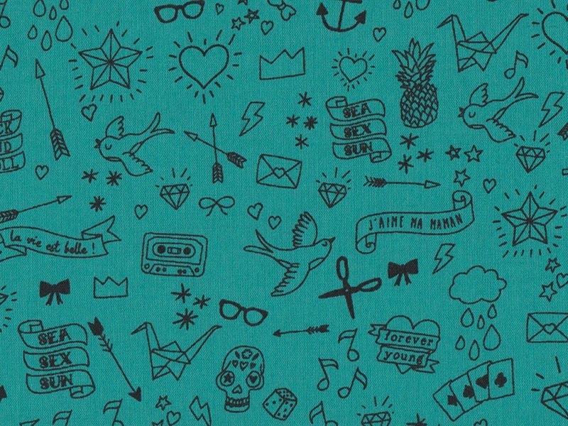 Tissu polycoton Tatouée pour la journée par Aime comme Marie - Emeraude