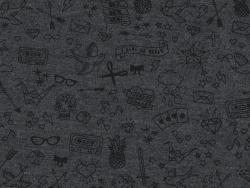 Tissu jersey Tatouée pour la journée par Aime comme Marie - Gris foncé