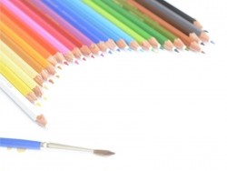 24 wasservermalbare Farbstifte + Pinsel