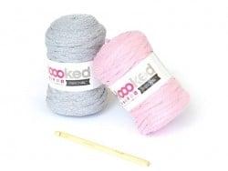 kit Ribbon XL - peluche éléphant rose et gris Hoooked Zpagetti - 1