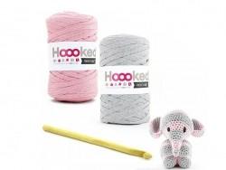 kit Ribbon XL - peluche éléphant rose et gris
