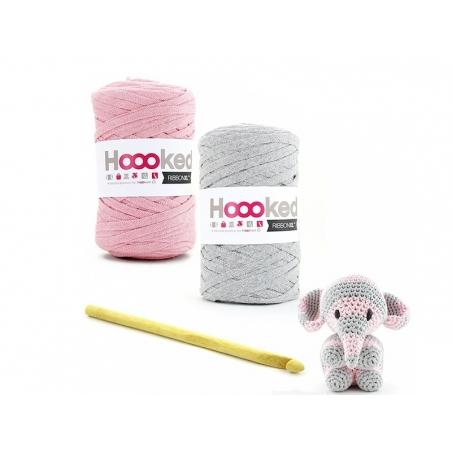 kit Ribbon XL - peluche éléphant rose et gris Hoooked Zpagetti - 2