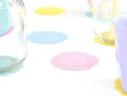 75 small doilies - lilac