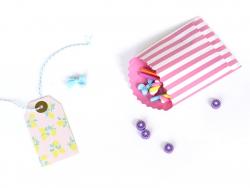 15 Geschenktüten - zuckerwattefarbene Streifen