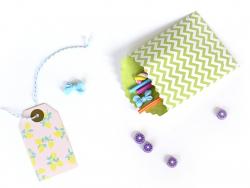 15 pochettes cadeaux - Chevrons Vert