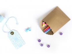 15 pochettes cadeaux - Pois Blanc et Kraft