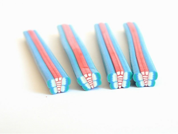 Butterfly cane - pink and light blue