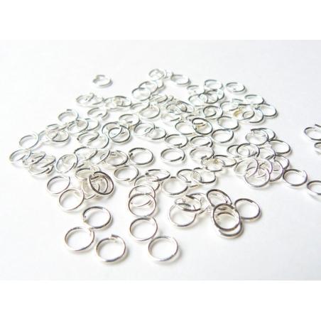 100 anneaux 5 mm - argenté foncé
