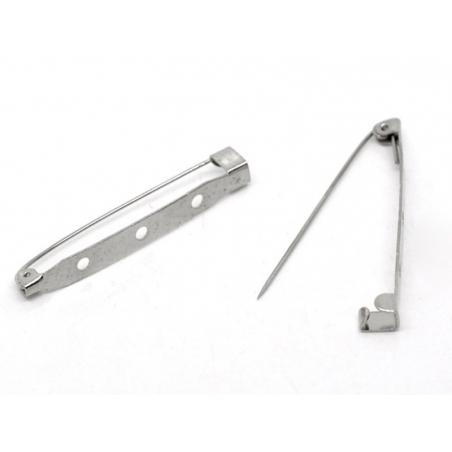 Silver-coloured brooch blank, 45 mm