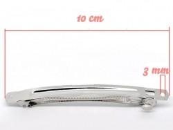 1 silberfarbener Haarspangenrohling, 10 cm