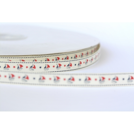 Off-white grosgrain ribbon - boats - 10 mm