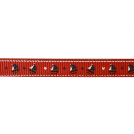 1 m of red Grosgrain ribbon with boats - 10 mm