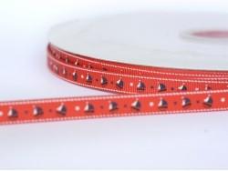 1m ruban gros grain rouge bateau - 10 mm