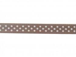 1 m taupefarbenes Ripsband Punktmuster - 10 mm