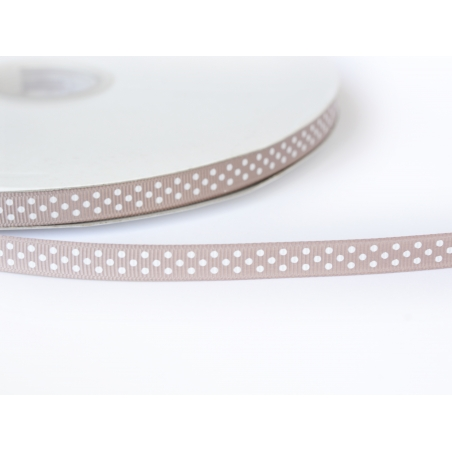 1 m of taupe Grosgrain ribbon with polka dots - 10 mm