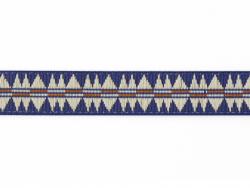 1 m Webband mit blauem, indianischem Muster - 10 mm