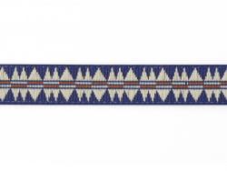 1m ruban tissé motif indien bleu - 10 mm
