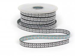 1m ruban tissé motif indien noir - 10 mm