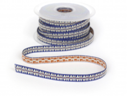 1 m of woven ribbon with a blue Indian pattern - 10 mm