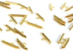 Slide end tubes for gold-coloured and woven bead bracelets - 15 mm