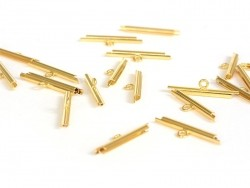 Slide end tubes for gold-coloured and woven bead bracelets - 20 mm