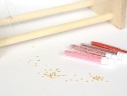 Röhrchen mit 1.100 Rocailleperlen - Miyuki Delica's 11/0 - erdbeerrot, Nr. 2189