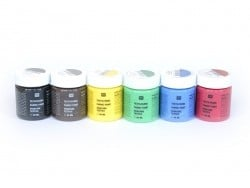 6 jars of fabric paint - Basic colours