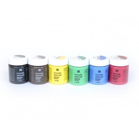Acheter 6 pots de peinture pour textile - Basique - 19,90€ en ligne sur La Petite Epicerie - Loisirs créatifs