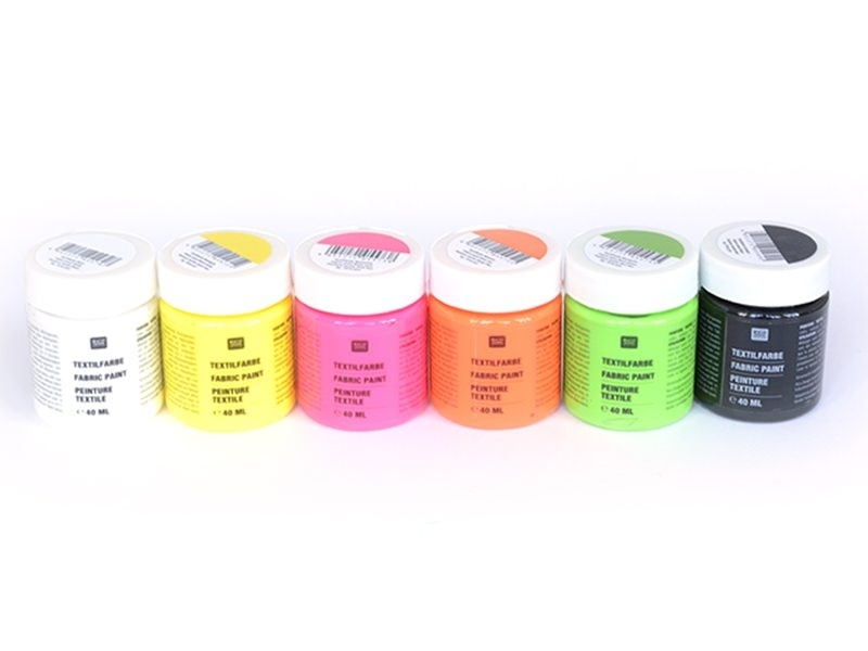 Acheter 6 pots de peinture pour textile - Fluo - 19,90€ en ligne sur La Petite Epicerie - 100% Loisirs créatifs