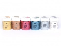 6 jars of fabric paint - Metallic colours