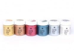 6 pots de peinture pour textile - Métallique