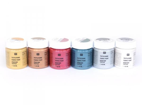 Acheter 6 pots de peinture pour textile - Métallique - 19,90€ en ligne sur La Petite Epicerie - 100% Loisirs créatifs