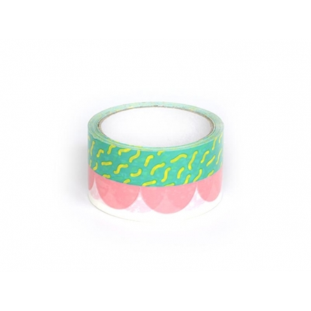Super Tape (33 m) - Green and pink