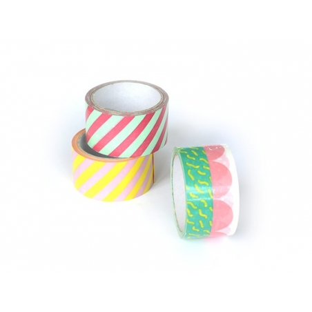 Striped Super Tape (33 m) - yellow and pink