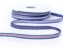 1m ruban tissé pointillé et 8 mm - bleu marine / rouge 027