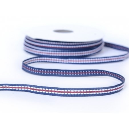 1 m of dashed woven ribbon (8 mm) - navy blue/ red (colour no. 027)
